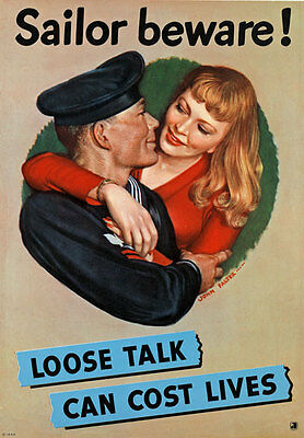 2W52 Vintage WWII Sailor Beware Loose Talk Security Navy War Poster WW2 A4
