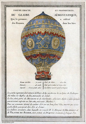 AD1 Vintage 1786 French Hot Air Balloon Advertising Advertisment Poster A4