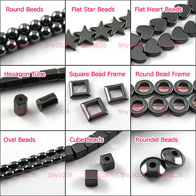 Round,Square,Star,Heart,Cube,Oval,Black Hematite Gemstone Spacer Beads T522