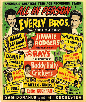 AD65 Vintage 1950's Everly Brothers Buddy Holly Concert Poster A4 Re-Print