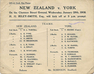 YORK v NEW ZEALAND ALL GOLDS 1908 Rugby League Tour Programme