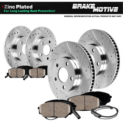 FRONT & REAR DRILLED SLOTTED BRAKE ROTORS AND 8 CERAMIC PADS Audi A6 VW Passat