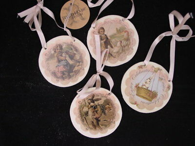 Easter Disk Ornaments Vintage Style Prints  4pc Silver