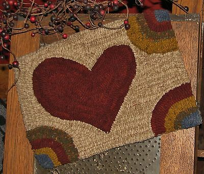 "Primitive Hooked Rug Pattern On Monks ""petite Prims Series ~ Prim Heart"""