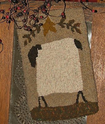 "Primitive Hooked Rug Pattern On Monks ""petite Prims Series ~ Prim Sheep"""