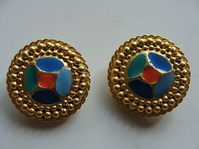 Vintage CRAFT  Clip on  Gold Tone With Hand Painted Enamel Earrings