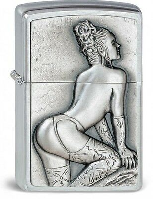 ZIPPO sexy pretty woman lighter massive emblem rare collectible