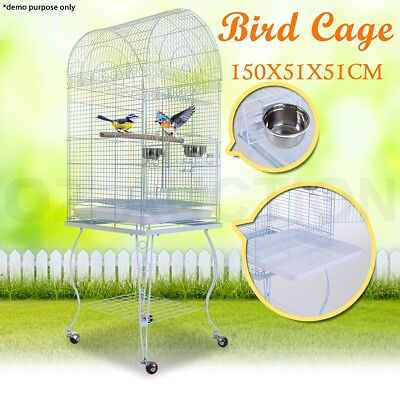 Pet Bird Parrot Stainless Steel Cage Budgie Canary Aviary Dome Top Wheel Stand