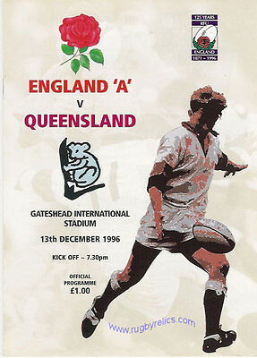 England A v Queensland1996 Rugby Programme 13th December at Gateshead