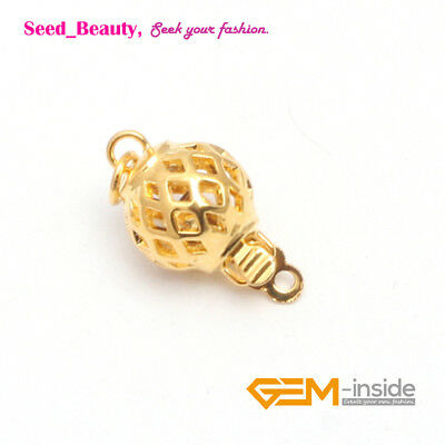 Yellow Gold Plated Hollow Ball Clasp 8mm finding