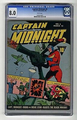 Cgc Captain Midnight (Fawcett)#  6 Vf 8.0 1943 White Pages