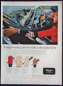 1957 Magazine Print Ad Riegel Long Wearing Gloves