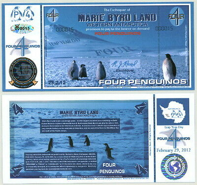 New Leap Year-Dated Marie Byrd Land Four Penguino Fantasy Note Low Serial #!!
