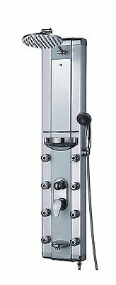 Aluminum Bathroom Shower Tower Rainfall Style Head Tub Massage Jets Spout Panel