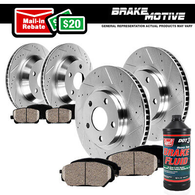 Front+Rear Drill Slot Brake Rotors & Ceramic Pads For 06-10 Impala Monte Carlo