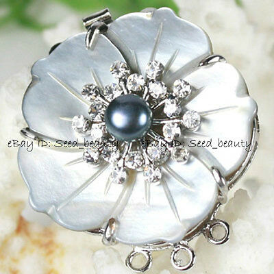 Natural MOP/Shell Pearl Zircon Clasp 35mm Jewelry