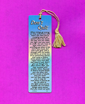 """Don't Quit""  Poem on a Tassel Bookmark (maise tassel)-Sku# 527"