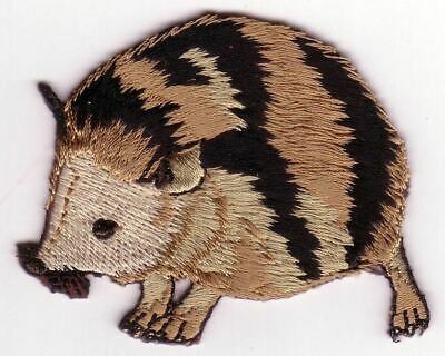 Forest Hedgehog Rodent Facing Left Embroidery Applique Patch