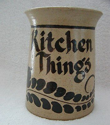 "Vintage STORAGE POT JAR ""KITCHEN THINGS"" POTTERY signed WHOOLERY ~Awesome"