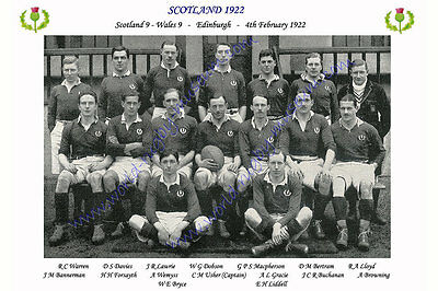 "SCOTLAND 1922 (v WALES) 12"" x 8"" RUGBY TEAM PHOTO PLAYERS NAMED"