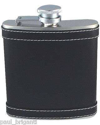6oz Stainless Steel Hip Flask Leather Wrapped Design 4145 Black Gift Box