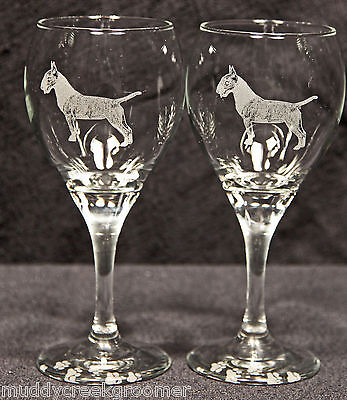 Colored Bull Terrier Dog Laser Etched Teardrop Wine Glass Pair