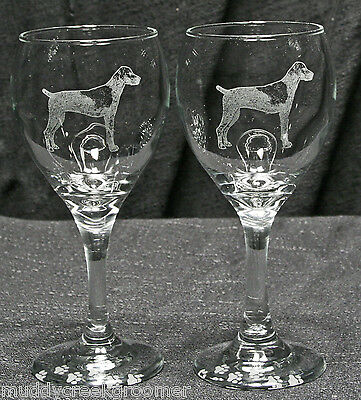 German Shorthaired Pointer Dog Etched Teardrop Wine Glass Pair