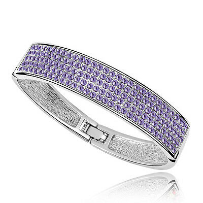 Bridal Violet Purple Crystal Bracelet Bangle made with Genuine Swarovski Element