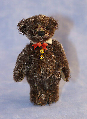 """Deb Canham """"tweed"""" Miniature Mohair Bear -Brown With A Gold Fleck-Made For 2012"""