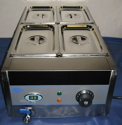NEW ACE 4 POT WET BAIN MARIE DIGITIAL 15cm deep PANS curry,veg,soup, kebab etc