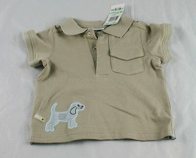 NWT First Impressions Polo Style Tee Tan Beagle Puppy Trim Size 18 Months u6p38