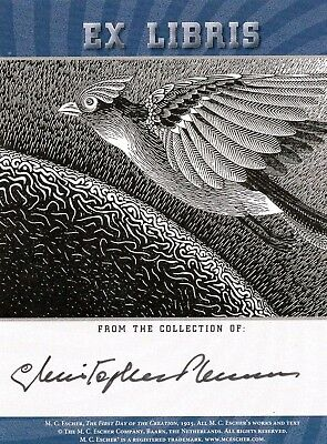Christopher Plummer signed M.C. Escher bookplate / autograph Sound of Music
