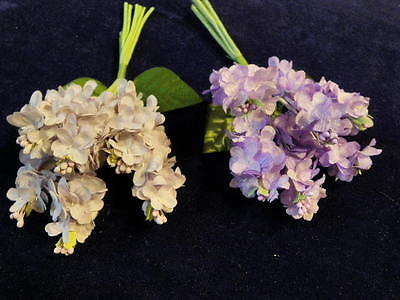 Vintage Millinery Flower Lilac Cluster Bunch Dk Lavender Hat Wedding Hair Y111