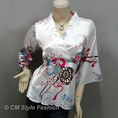 Japanese Kimono Floral Silky Satin Blouse Top White S/M/L/XL/2XL/3XL