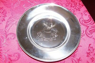 Lundtofte Stainless Children's Plate, Bear Family, Denmark, w/Sticker