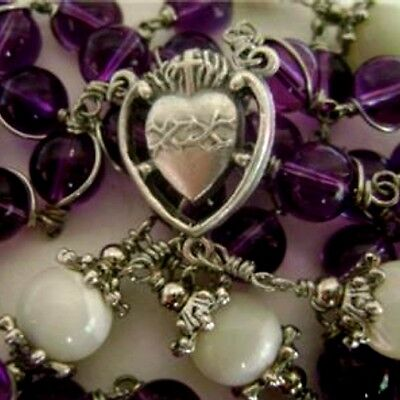 Purple Amethyst Crystal Wire Wrap Beads Rose Rosary NECKLACE & Cross Relic Medal