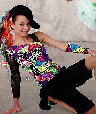NWT Fishnet Sleeve Strap Jazz Top Hiphop Dance Costume Cool Print Girls/Ladies