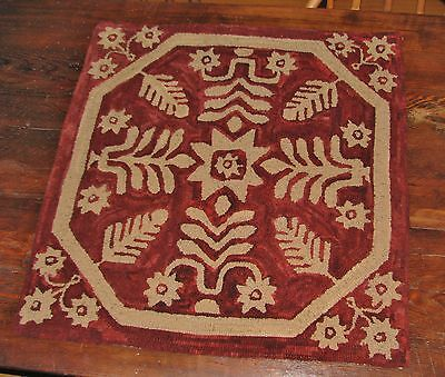 Primitive Hooked Rug Pattern On Monks ~ Antique Coverlet