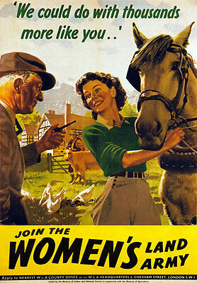 WB9 Vintage WW2 Womens Land Army British WWII War Poster Re-Print A3