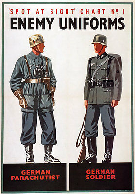 WB12 Vintage WW2 Spot German Enemy Uniforms British WWII War Poster Re-Print A3