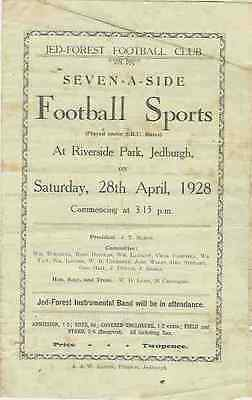 Jed-Forest Sevens 1928 Rugby Programme Winners Hawick