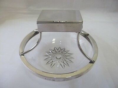Antique Solid Silver & Glass Match Vesta Case & Ashtray John Grinsell Birm. 1894