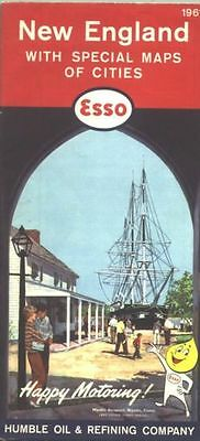 1961 Esso New England  Vintage Road Map /Mystic Seaport on cover