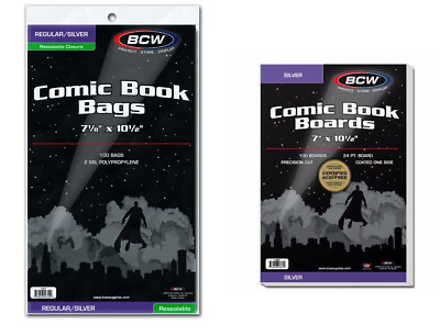 (100) BCW Brand Resealable Bags + (100) BCW Boards Combo Lot (Silver Age Size)