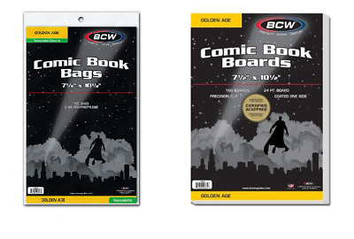 (100) BCW Brand Resealable Bags + (100) BCW Boards Combo Lot (Golden Age Size)