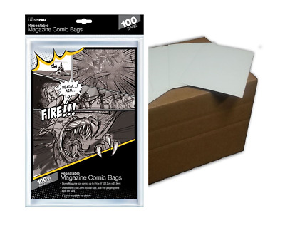 (100) Ultra Pro Resealable Magazine Bags Plus (100) Acid Free Backing Boards