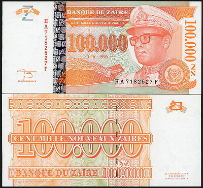 COLORFUL ZAIRE 100,000 NEW ZAIRES CURRENCY BANKNOTE P-76 IN CRISP UNC c.1996!