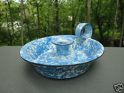 Stangl Pottery Blue Town & Country Spatterware Chamberstick Candle Holder