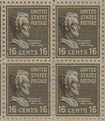 Abraham Lincoln Set of 4 x 16 Cent US Postage Stamps NEW Scot 821