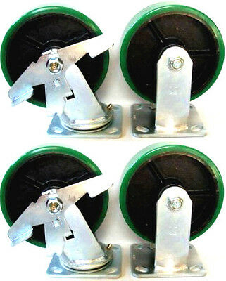 """Set of 4 Heavy Duty Polyurethane Plate Casters with Rigid and Swivel 8"""" Wheels"""